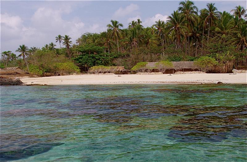 Isla y chozas